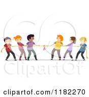 Cartoon Of Happy Diverse People Playing Tug Of War Royalty Free Vector Clipart