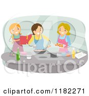 Cartoon Of Three Happy Women Cooking Together Royalty Free Vector Clipart