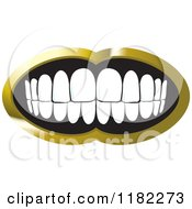 Clipart Of A Human Teeth With A Gold Frame Royalty Free Vector Illustration