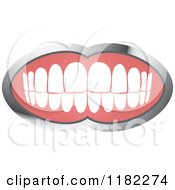 Clipart Of A Human Teeth With A Silver Frame 2 Royalty Free Vector Illustration