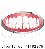 Clipart Of A Human Teeth With A Silver Frame Royalty Free Vector Illustration