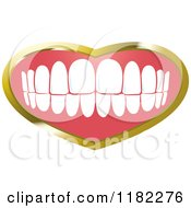 Clipart Of A Human Teeth With A Gold Heart Frame Royalty Free Vector Illustration