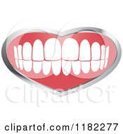 Clipart Of A Human Teeth With A Silver Heart Frame Royalty Free Vector Illustration
