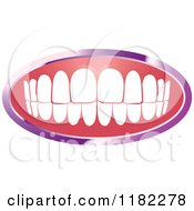 Clipart Of A Human Teeth With A Purple Frame Royalty Free Vector Illustration