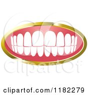 Clipart Of A Human Teeth With A Gold Frame 2 Royalty Free Vector Illustration