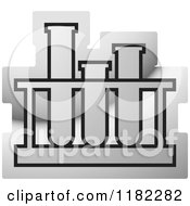 Clipart Of A Silver Test Tube Rack Icon Royalty Free Vector Illustration by Lal Perera