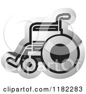 Clipart Of A Silver Wheelchair Icon Royalty Free Vector Illustration by Lal Perera