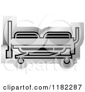 Clipart Of A Silver Hospital Bed Icon Royalty Free Vector Illustration by Lal Perera