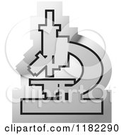 Clipart Of A Silver Microscope Icon Royalty Free Vector Illustration by Lal Perera