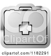 Clipart Of A Silver First Aid Kit On A Icon Royalty Free Vector Illustration by Lal Perera