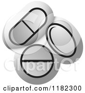 Clipart Of Pills Over Silver Icon Royalty Free Vector Illustration by Lal Perera