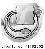 Clipart Of A Blood Pressure Monitor On Silver Royalty Free Vector Illustration