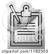 Clipart Of A Silver Medical Record Icon Royalty Free Vector Illustration