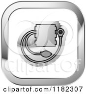 Clipart Of A Silver And White Blood Pressure Monitor Icon Royalty Free Vector Illustration