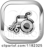 Clipart Of A Wheelchair On A Silver And White Icon Royalty Free Vector Illustration by Lal Perera