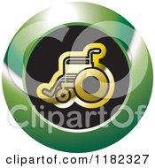 Clipart Of A Gold Wheelchair On A Black And Green Icon Royalty Free Vector Illustration