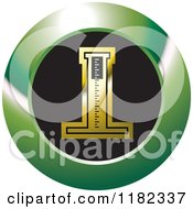Clipart Of A Gold Medical Measuring Device On A Black And Green Icon Royalty Free Vector Illustration