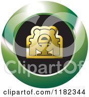 Clipart Of A Gold CAT Scan Machine On A Black And Green Icon Royalty Free Vector Illustration