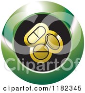 Clipart Of Gold Pills On A Black And Green Icon Royalty Free Vector Illustration by Lal Perera