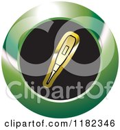 Clipart Of A Gold Blood Sugar Monitor Or Thermometer On A Black And Green Icon Royalty Free Vector Illustration by Lal Perera
