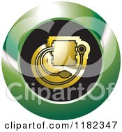 Clipart Of A Gold Blood Pressure Monitor On A Black And Green Icon Royalty Free Vector Illustration