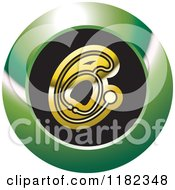 Clipart Of A Gold Stethoscope On A Black And Green Icon Royalty Free Vector Illustration by Lal Perera