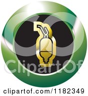 Clipart Of A Gold Saline Bottle On A Black And Green Icon Royalty Free Vector Illustration by Lal Perera