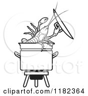 Clipart Of A Black And White Crayfish In A Pot Royalty Free Vector Illustration by Lal Perera