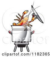 Clipart Of A Crayfish In A Pot Royalty Free Vector Illustration by Lal Perera #COLLC1182365-0106