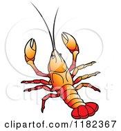 Clipart Of An Orange Crayfish Royalty Free Vector Illustration