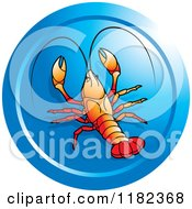 Clipart Of A Round Blue Crawfish Icon Royalty Free Vector Illustration by Lal Perera