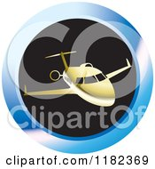Clipart Of A Gold Airplane On A Blue And Black Round Icon Royalty Free Vector Illustration