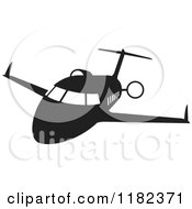 Clipart Of A Black And White Airplane In Flight Royalty Free Vector Illustration