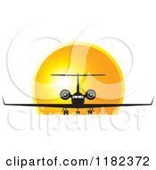 Clipart Of A Black And White Airplane Against A Sunset Royalty Free Vector Illustration