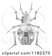 Clipart Of A Silver Robot Beetle Royalty Free Vector Illustration by Lal Perera