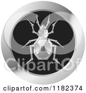 Clipart Of A Silver Robot Beetle On A Round Icon Royalty Free Vector Illustration by Lal Perera