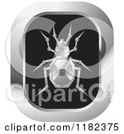 Clipart Of A Silver Robot Beetle On An Icon Royalty Free Vector Illustration by Lal Perera