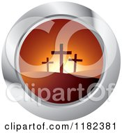 Clipart Of Three Crosses On Hills At Sunset On A Silver Icon Royalty Free Vector Illustration