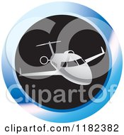 Clipart Of A Silver Airplane On A Blue And Black Round Icon Royalty Free Vector Illustration