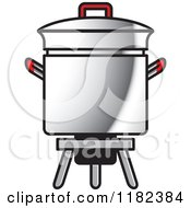 Clipart Of A Metal Pot On A Cooker Stand Royalty Free Vector Illustration by Lal Perera