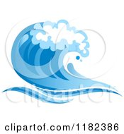 Clipart Of A Blue Surf Ocean Wave 5 Royalty Free Vector Illustration
