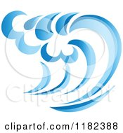 Clipart Of A Blue Surf Ocean Wave 2 Royalty Free Vector Illustration