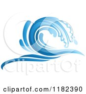 Clipart Of A Blue Surf Ocean Wave 4 Royalty Free Vector Illustration