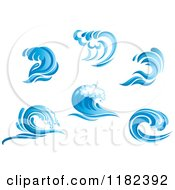 Clipart Of Blue Surf Ocean Waves Royalty Free Vector Illustration