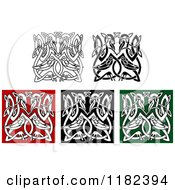Clipart Of Celtic Heron Knots 3 Royalty Free Vector Illustration