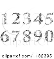 Clipart Of Vintage Black And White Floral Numbers Royalty Free Vector Illustration