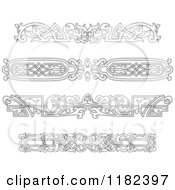Clipart Of Vintage Black And White Victorian Rule Borders Royalty Free Vector Illustration