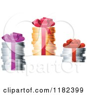 Clipart Of Gift Bows And Ribbons Around Stacks Of Gold And Silver Coins Royalty Free Vector Illustration