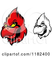 Clipart Of Red And Grayscale Cardinal Heads Royalty Free Vector Illustration