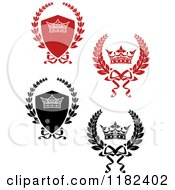 Clipart Of Red And Black And White Shields And Laurel Wreaths With Crowns Royalty Free Vector Illustration